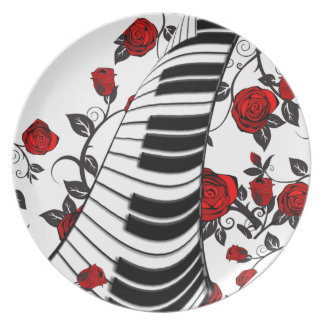 Red roses and piano keys, eye catching! plate