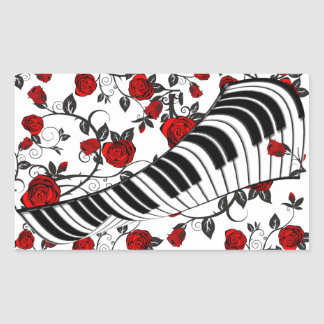 Red roses and piano keys, eye catching! rectangular sticker