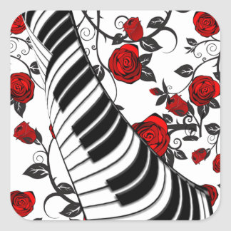 Red roses and piano keys, eye catching! square sticker