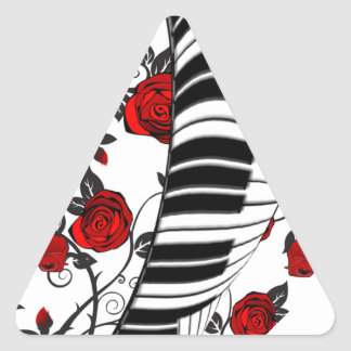 Red roses and piano keys, eye catching! triangle sticker