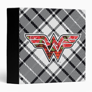 Red Roses and Plaid Wonder Woman Logo Binder