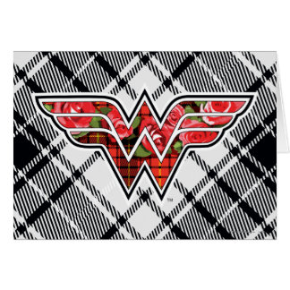 Red Roses and Plaid Wonder Woman Logo Card