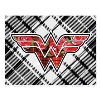 Red Roses and Plaid Wonder Woman Logo Postcard