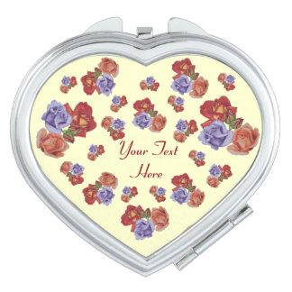 Red roses and rose buds original floral art design mirror for makeup