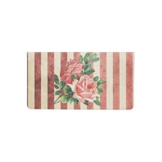 Red Roses and Rustic Red and Beige Stripe Checkbook Cover