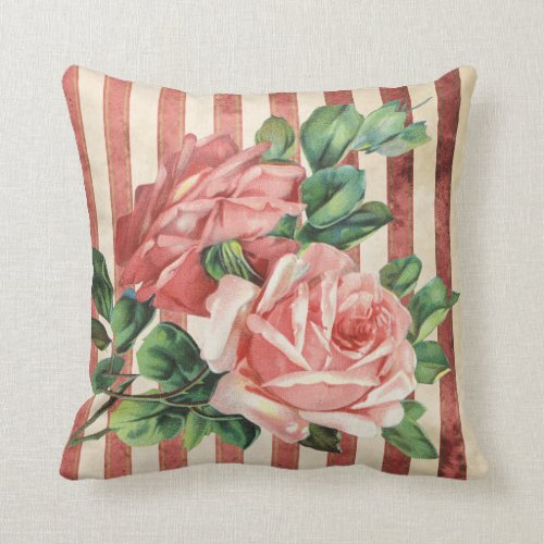 Red Roses and Rustic Red and Beige Stripe Throw Pillow