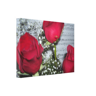 Red Roses and Sheet Music Canvas Prints
