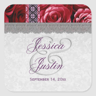 Red Roses and Silver Lace Wedding Template Stickers