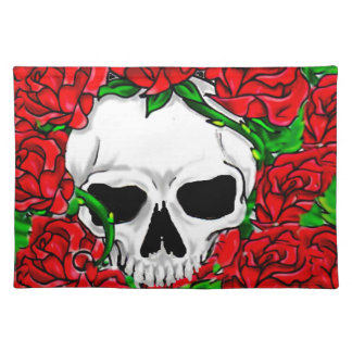 Red Roses and Skull Cloth Placemat