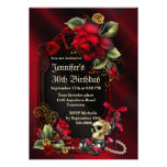 Red Roses and  Skull Gothic Birthday Personalized Invites