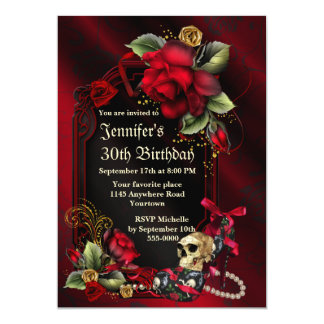 """Red Roses and  Skull Gothic Birthday 5"""" X 7"""" Invitation Card"""