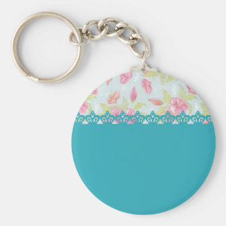 Red roses and stripes with crown basic round button keychain