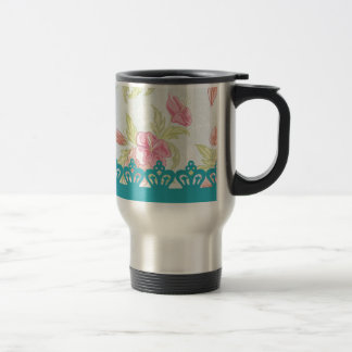 Red roses and stripes with crown coffee mug