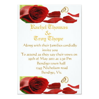 Red roses and wedding ring card