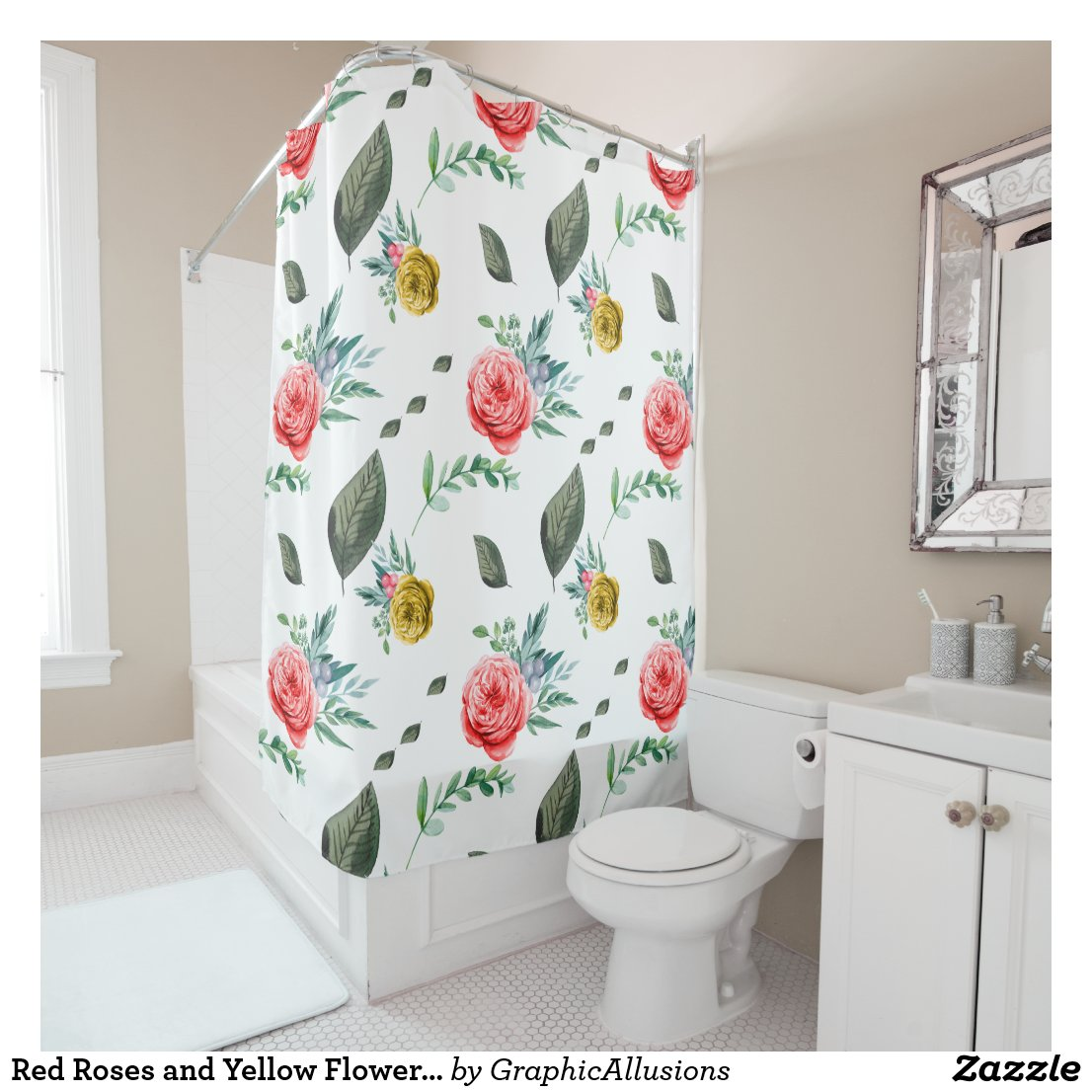 Red Roses and Yellow Flowers Floral Shower Curtain