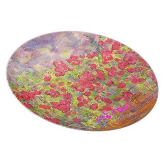 red roses art melamine plate