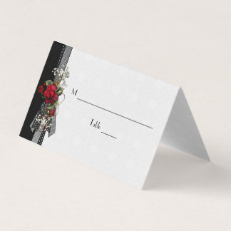 Red Roses Baby's Breath Black Ribbons Place Cards