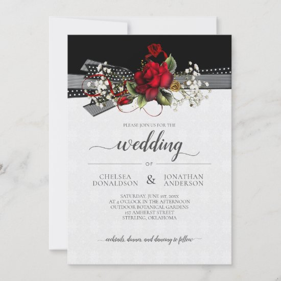 Red Roses Baby's Breath Calligraphy Wedding Announcement