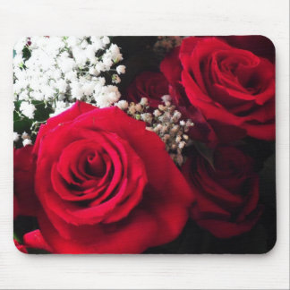 Red Roses & Baby's Breath Office Bouquet Mousepad