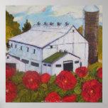 Red Roses & Barn Fine Art Poster