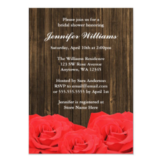 Red Roses Barn Wood Bridal Shower Announcements