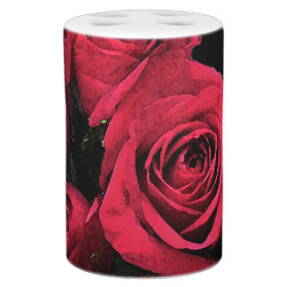 red roses bathroom set