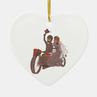 Red Roses Biker Wedding Cards and Products Ceramic Ornament