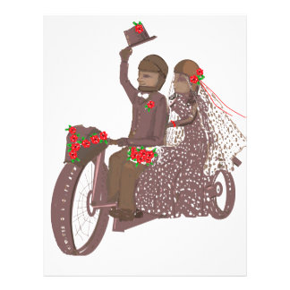 Red Roses Biker Wedding Cards and Products Personalized Letterhead