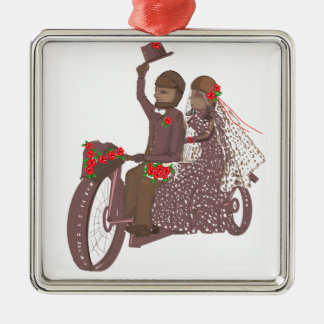 Red Roses Biker Wedding Cards and Products Metal Ornament