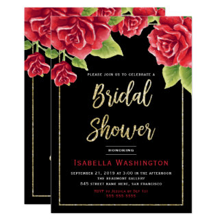 Red Roses Black & Gold Glitter Bridal Shower Card