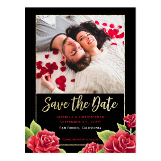 Red Roses Black & Gold Glitter Save the Date Photo Postcard