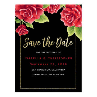 Red Roses Black & Gold Glitter Save the Date Postcard