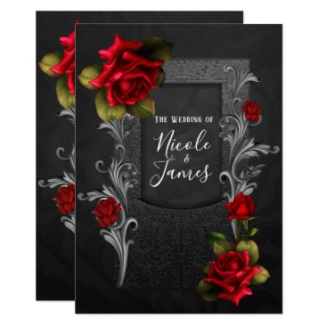Halloween Themed Red Roses Black Ornate Gothic Wedding Card