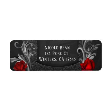 Halloween Themed Red Roses Black Ornate Gothic Wedding Label