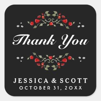 Red Roses Black & White Matching Wedding Thank You