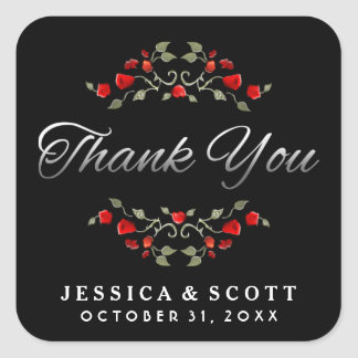 Red Roses Black & White Matching Wedding Thank You Square Sticker