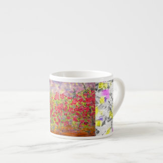 red roses blooming drip espresso cup