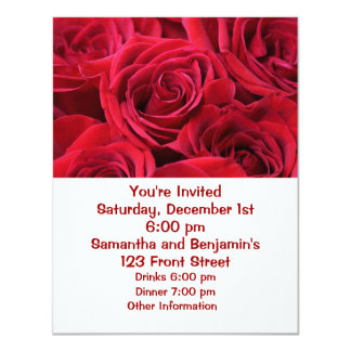 """Red Roses Bouquet 4.25"""" X 5.5"""" Invitation Card"""