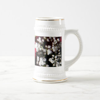 Red roses bouquet close up beer stein