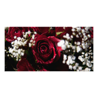 Red roses bouquet close up picture card