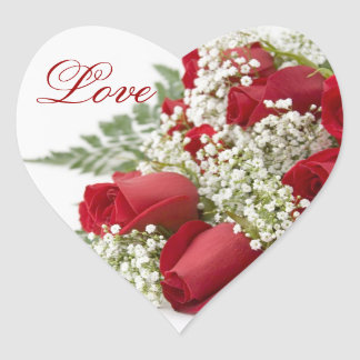 Red Roses Bouquet Heart Wedding Stickers
