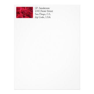 Red Roses Bouquet Personalized Letterhead