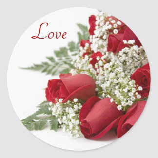 Red Roses Bouquet Love Stickers
