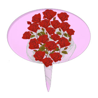 Red Roses Bouquet Pink background Cake Pick