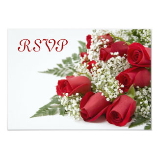 "Red Roses Bouquet RSVP Cards 3.5"" X 5"" Invitation Card"