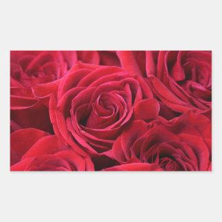Red Roses Bouquet Rectangular Sticker