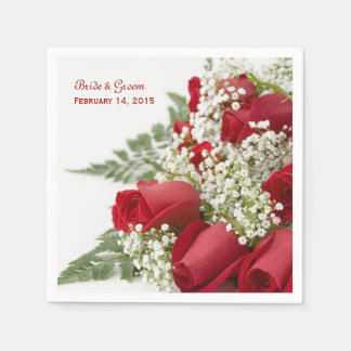 Red Roses Bouquet Wedding Paper Napkins