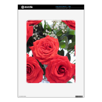 Red Roses Bouquet with Babys Breath iPad Skin