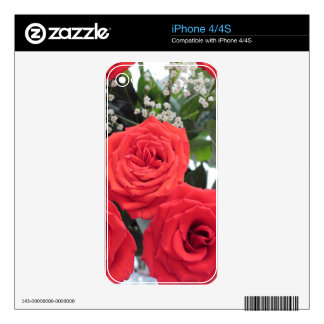Red Roses Bouquet with Babys Breath iPhone 4 Skins