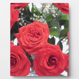 Red Roses Bouquet with Babys Breath Plaque